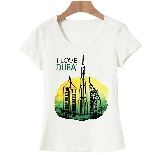 6607766c I Love DUBAI Printed T Shirt Women Hipster Cotton O-neck Cool Tee Art  pattern women t shirts Graphic Short Sleeve O-Neck tops