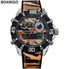 BOAMIGO marca deporte de los hombres relojes de moda banda de goma de doble pantalla relojes analógico digital LED relojes de pulsera 30 M Impermeable reloj