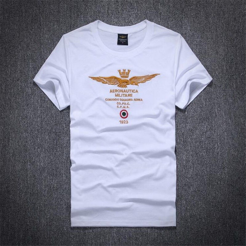 Summer Men's T Shirt New Aeronautica Militare Fashion Embroidery T Shirt Men O Neck Short Sleeve Slim Fit Casual Mens Tee shirt