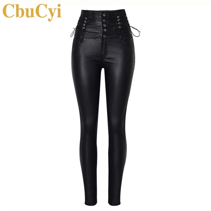 CbuCyi High Waist Women's Clothing PU Leather Pants Skinny Lace Up Moto Biker Long Trousers Female Stretch Coated Denim Pants