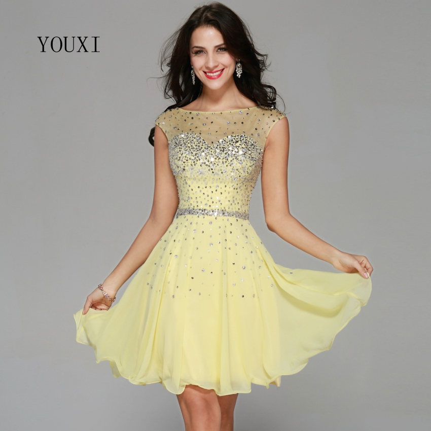 Sexy Yellow Chiffon Beaded Crystal Cocktail Dresses 2019 New Arrivals Hot Fashion Short Prom Dresses CD03