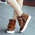 2016 novo inverno além de veludo de alta-top de pele de coelho mulheres botas de neve Meninas inverno leopardo tubo sapatos aumento da altura moda DT637