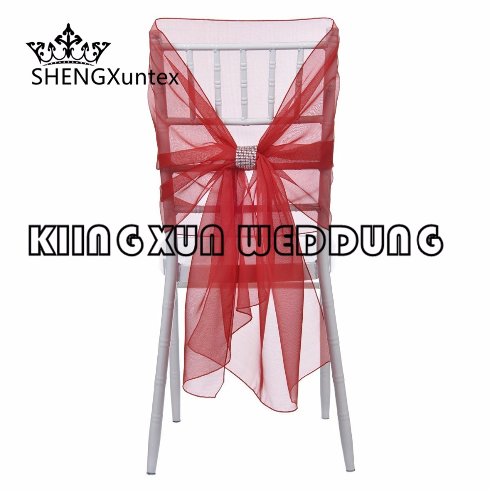 Wholesale Price 65CM*160CM Chiavari Organza Chair Hood  Chair Sash With Buckle For Wedding Event Decoration