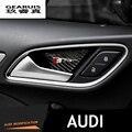 4 pcs fibra de carbono interior porta tigela maçaneta decoração acessórios decorativos 3D adesivos sline logotipo para Audi A3 A4 A6 Q5 Q3