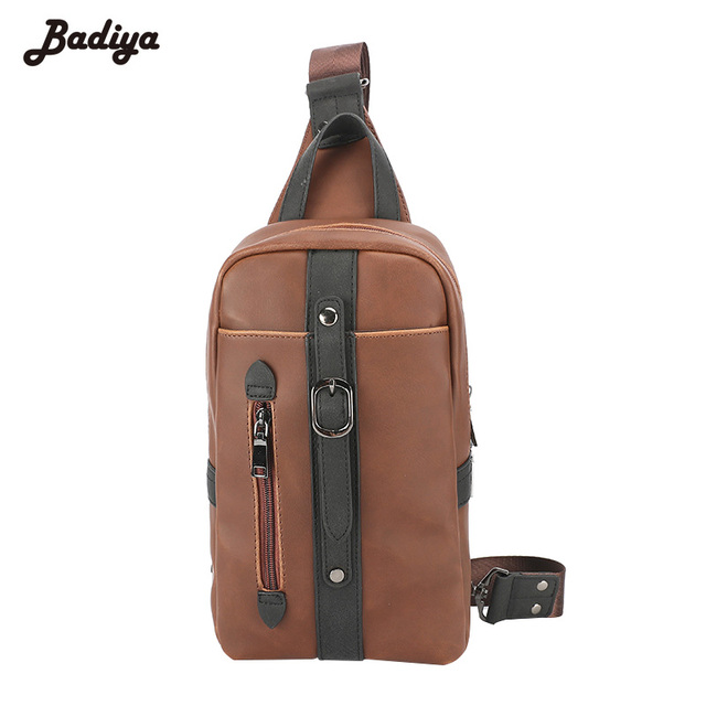 a718c9e22730 New Men Crossbody Bags Messenger Chest Bags School PU Leather Zipper Purses  Crazy Horse Leather Travel