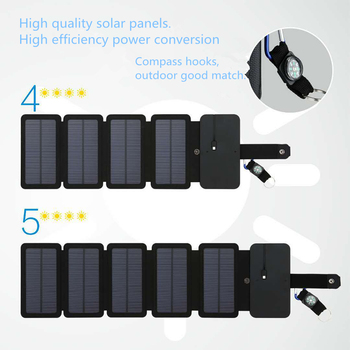 KERNUAP SunPower folding 10W Solar Cells Charger 5V 2.1A USB Output Devices Portable Solar Panels for Smartphones 2