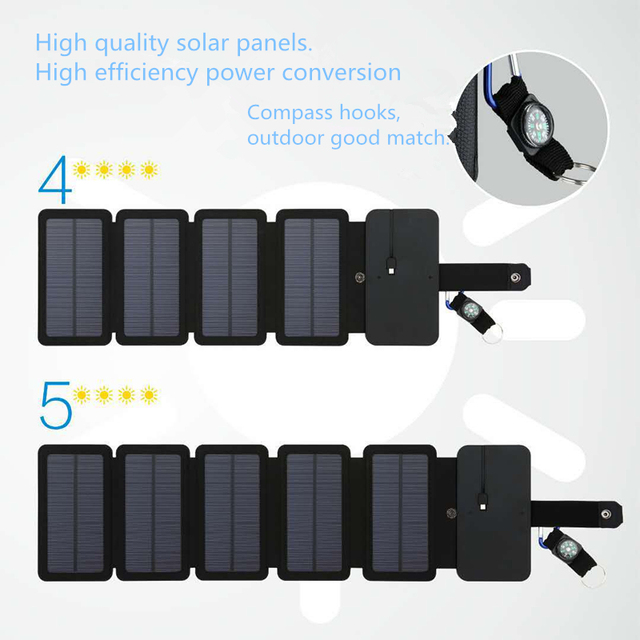 KERNUAP SunPower folding 10W Solar Cells Charger 5V 2.1A USB Output 1