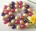 Charming! AAA cute!! 10mm Color Sea Shell Pearl Necklace 18''lace jewelry free shipping  ZH0158