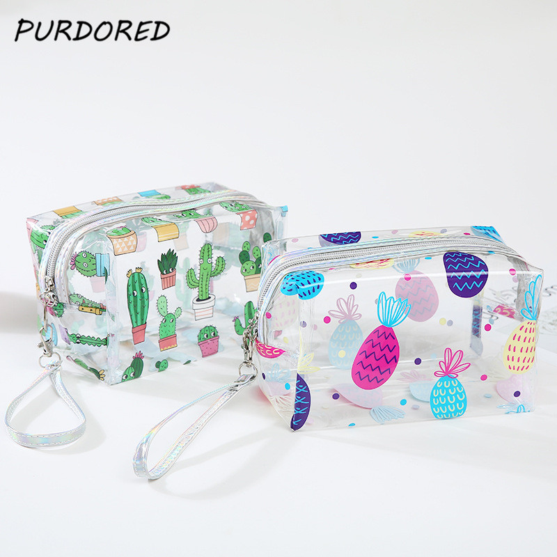 PURDORED 1 Pc Transparent Cosmetic Bag  PVC Travel Makeup Bag Cactus Flamingo Pineapple Toiletry Bag Neceser Dropshipping