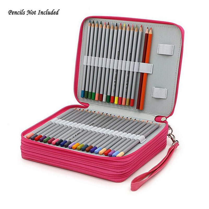 127 Holder 3 Layer Portable PU Leather School Pencils Case Large Capacity Pencil Bag For Colored Pencils Watercolor Art Supplies new cute kawaii 72 150 holder portable school pencils case large capacity pencil bag for colored pencils watercolor art supplies