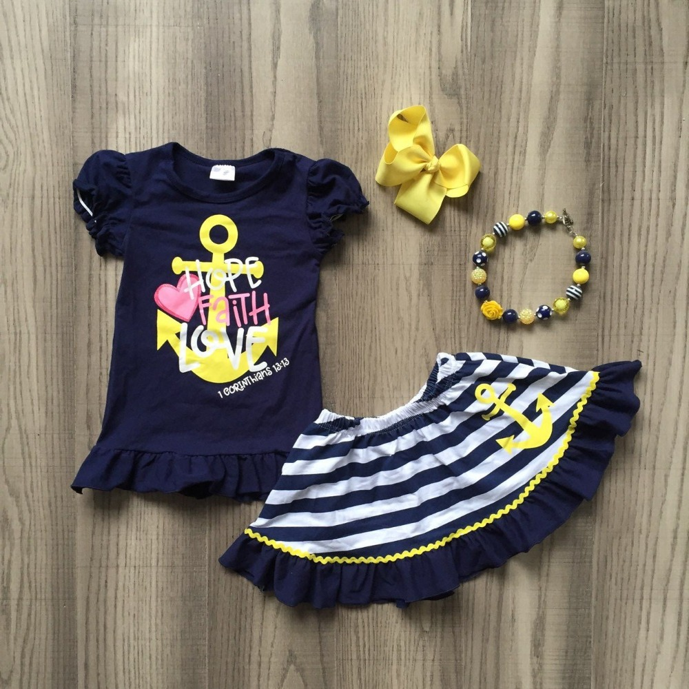 Baby Girls Summer New Arrival Sailor Outfits HOPE FAITH LOVE Top Sailor Dress Outfits With Accessories