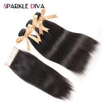 Sparkle דיווה ברזילאית ישר שיער עם סגירת תחרה משלוח חלק צבע טבעי 3 חבילות שיער אדם וויבס רמי שאינו שיער