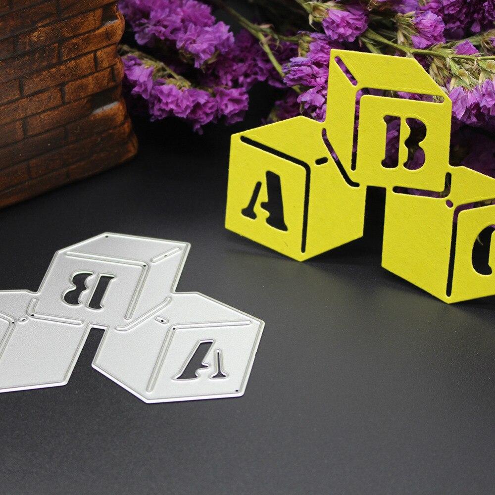 ᗑNuevo cubo Dados con ABC patrón plantilla DIY metal Recortes de ...