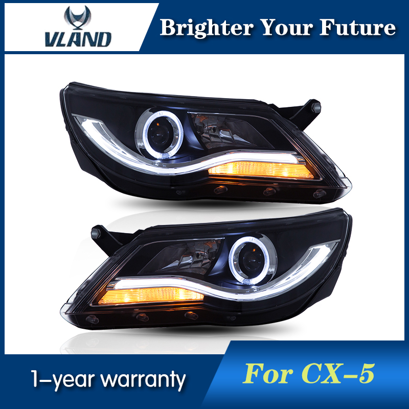 LED headlight With Angel Eye Retrofit For Tiguan 2009 2010 2011 Led Car Headlamp HID Lens and turn light headlights electric car motorcycle 15w led headlights modification lens light 12 60v
