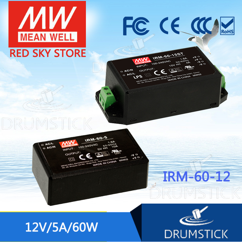 Genuine MEAN WELL IRM-60-12 12V 5A meanwell IRM-60 12V 60W PCB mounting style genuine mean well irm 60 12st 12v 5a meanwell irm 60 12v 60w screw terminal style