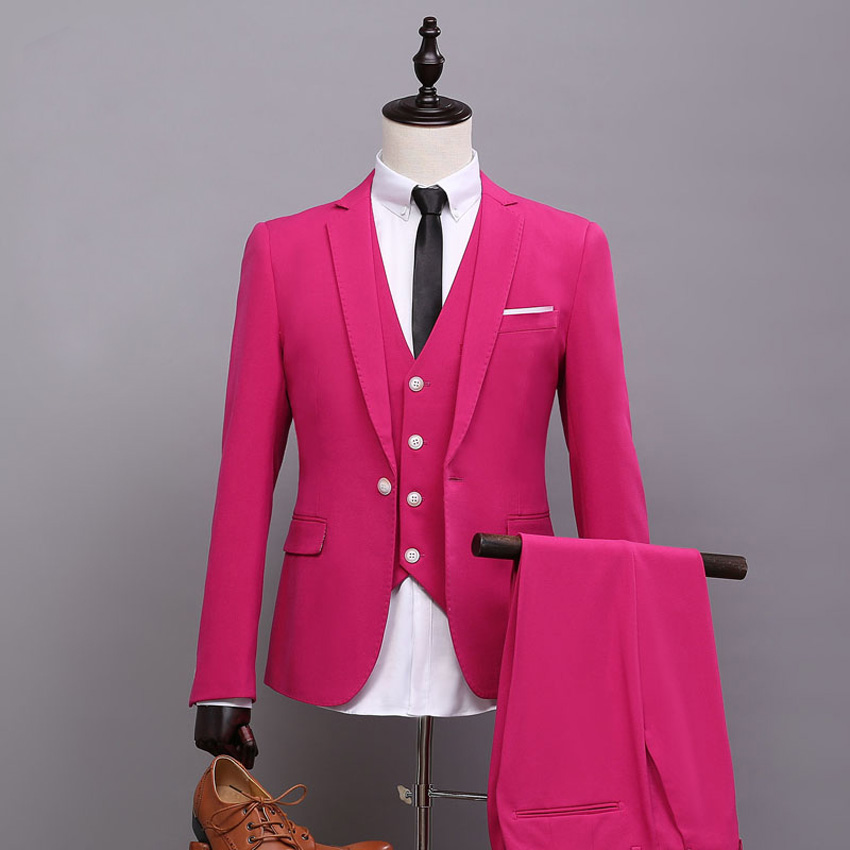 Pink Wedding Tux: Custom Made Groomsmen Suit Notch Lapel Groom Tuxedos Pink
