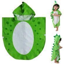 Детское банное полотенце, халат, детское пляжное пончо с капюшоном, с рисунком динозавра(зеленый+ белый, 55 см x 110 см