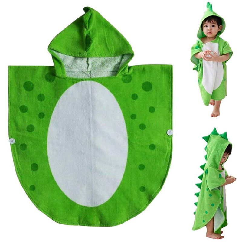 Children Bath Towel Robe Kids Hooded Beach Swimming Poncho Dinosaur Pattern(Green+White 55 Cm X 110 Cm)