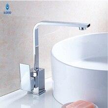 Ulgksd 360 Вращение кухонный кран Chrome Кухня Раковина кран водопад выход waterdeck установлен горячей или холодной воды смесители