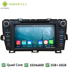 Quad core WIFI Android 5.1.1 2Din 1024*600 Car DVD Player Radio Stereo Audio Screen GPS For Toyota Prius Left driving 2009-2015