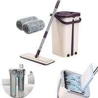 Squeeze Flat Mop Hand Free Wringing Stainless Steel Mop Self Wet and Dry Cleaning Microfiber Mop Floor