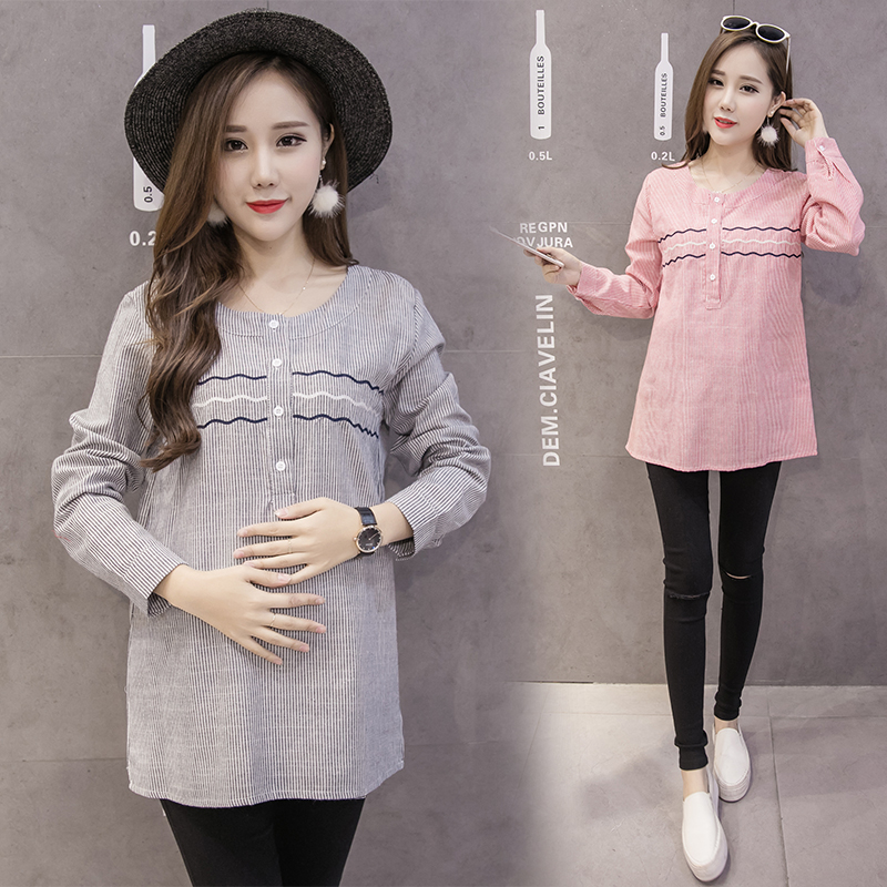 Pengpious 2018 spring maternity fashion embroidery round collar shirts pregnant women T-shirt striped pregnancy casual blouses