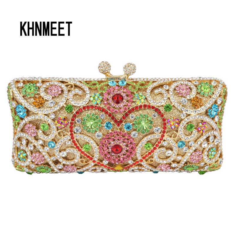 LaiSC heart shape flower clutch bag full crystal dinner bag diamond party clutches women wedding purse luxury evening bags SC123 women luxury rhinestone clutch evening handbag ladies crystal wedding purses dinner party bag bird flower purse zh a0296