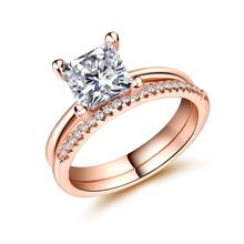 Huitan 2PC Wedding Ring Set with Clear White Princess Cut CZ Prong Set Rose Gold Color Engagement Rings for Women & Girlfriend