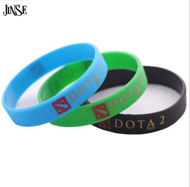 JINSE Fashion Turret Games Silicone DOTA 2 Bracelets Bangles Wristbands Green Bl
