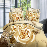 Hot sell Luxury 4pcs Pastoral Style Plant Flower Printed Sheet Duvet Cover pillowcase Queen Size 3D Roses yellow Bedding sets