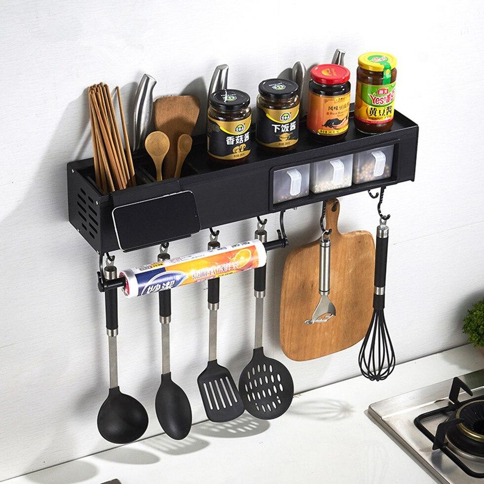 Pot Rack Caddy Shelves With Towel Bar