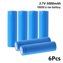 6pcs high performance 18650 battery 5000mah 3.7v For electronic cigarette Rechargeable power discharge