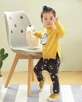 Niños pantalones de harén niñas boutique otoño primavera ruffles algodón estrellas impreso polainas de la manera pantalones ropa de los niños 2-6 T