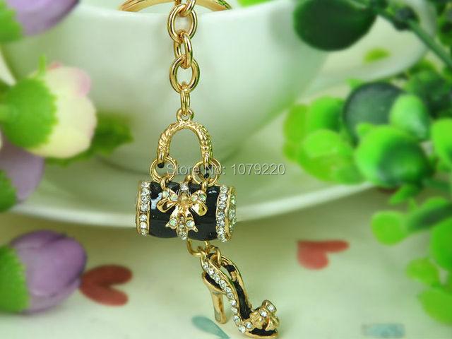 T Black Bags High-heeled Shoes Keyring Rhinestone Crystal Charm Jewellery Women Bag Pendant Car Key Chain Gift