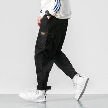 2019 Men Multi-pocket Elastic Waist Design Harem Pant Street Punk Hip Hop Red Casual Trousers Joggers Male Army Cargo Pants 5XL - Black, 4XL