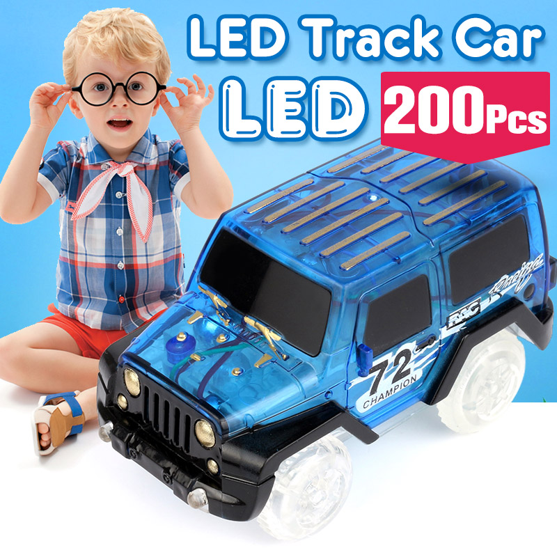 200pcs Electronics Car Flashing Lights Car LED Lights Glowing Track Boys&Girls Educational Toy For Children glowing sneakers usb charging shoes lights up colorful led kids luminous sneakers glowing sneakers black led shoes for boys