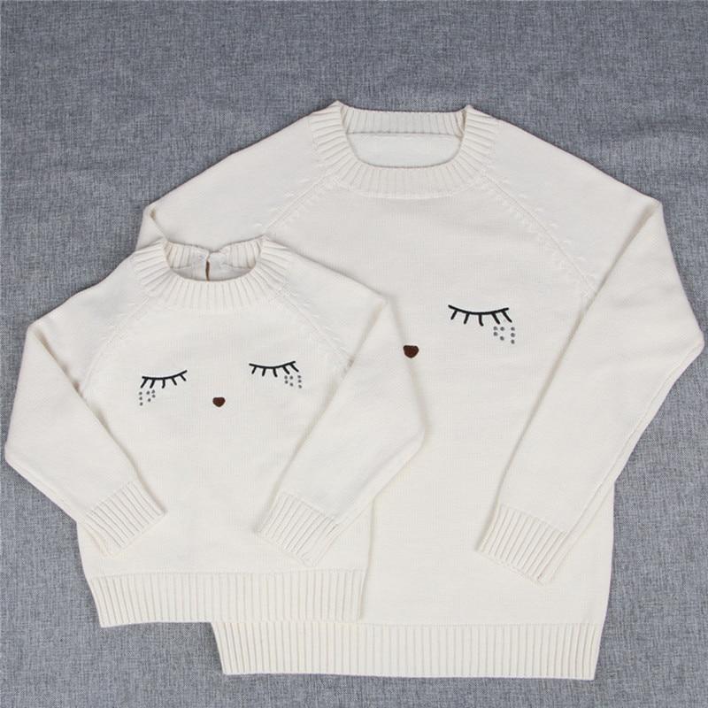 Řasy vzor máma holčičky chlapci svetr svetr teplá rodina odpovídající oblečení matku a dceru syna pletené oblečení