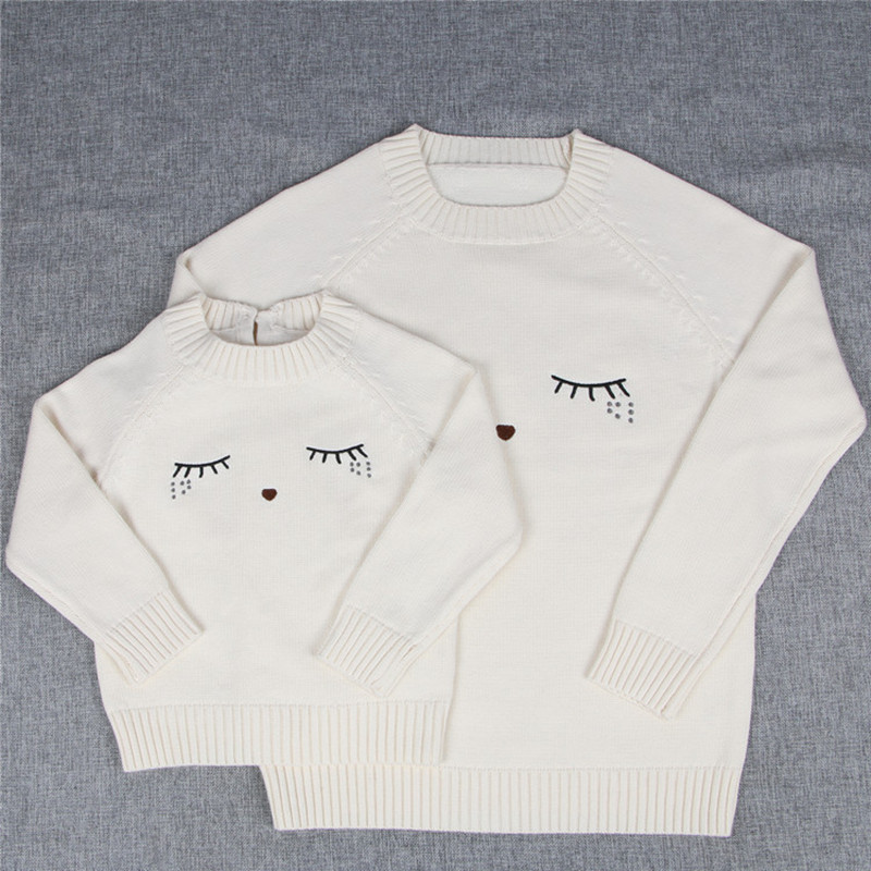 Eyelashes Pattern Mom Baby Girls Boys Pullover Sweaters Warm Family Matching Clothing Mo ...