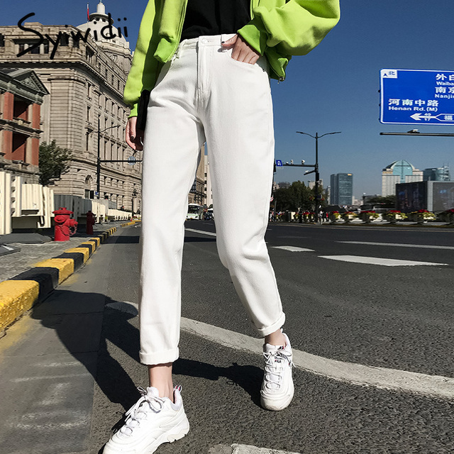 White cotton Jeans for Women High Waist denim pants