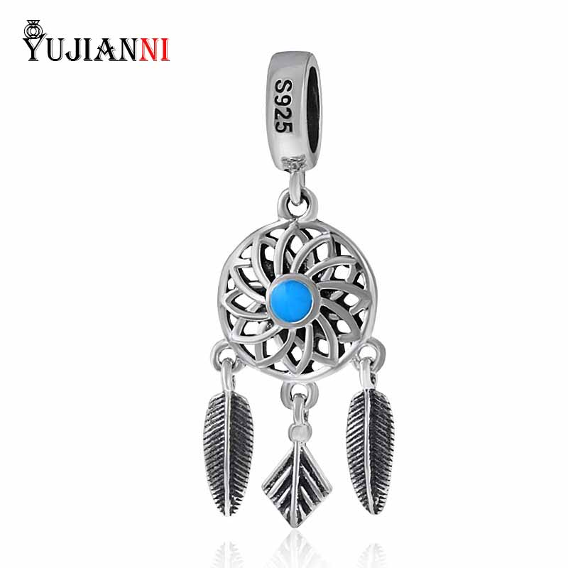 Original 100% Solid 925 Sterling Silver Dream Catcher Dangle Charm Compatible with Pandora Charm Bracelets DIY Jewelry Making