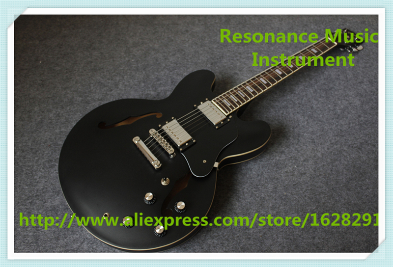 Chinese Matte Black Finish Maple Hollow Body Jazz Guitar With Chrome Hardware Left Handed Custom Available top selling emerald green classical chinese jazz electric guitar with bigsby hollow guitar body