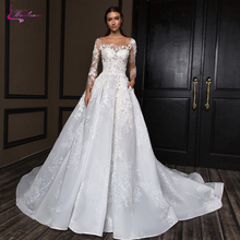 Waulizane Princess A Line Wedding Dresses White Color With Chapel Train Three Quater Sleeve Gown