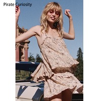 Pirate Curiosity Women Vacation Vintage Backless Tank Top Blouses Streetwear Celestial Star Floral Print Cami Boho Summer Tops