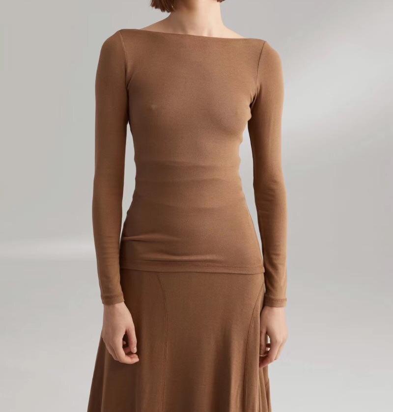Rimont top nougat Black Fashion Viscose Tops Boat Neck scoop Back Long Sleeved slim silhouette Fashion