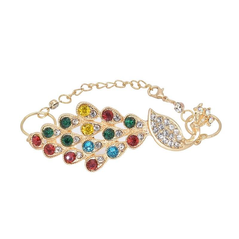 253f5090ac4 Hot Fashion Fine Jewelry Shine Bright CZ Gold Color Colorful Peacock  Dazzling Rhinestone Bracelets Bangle For Women