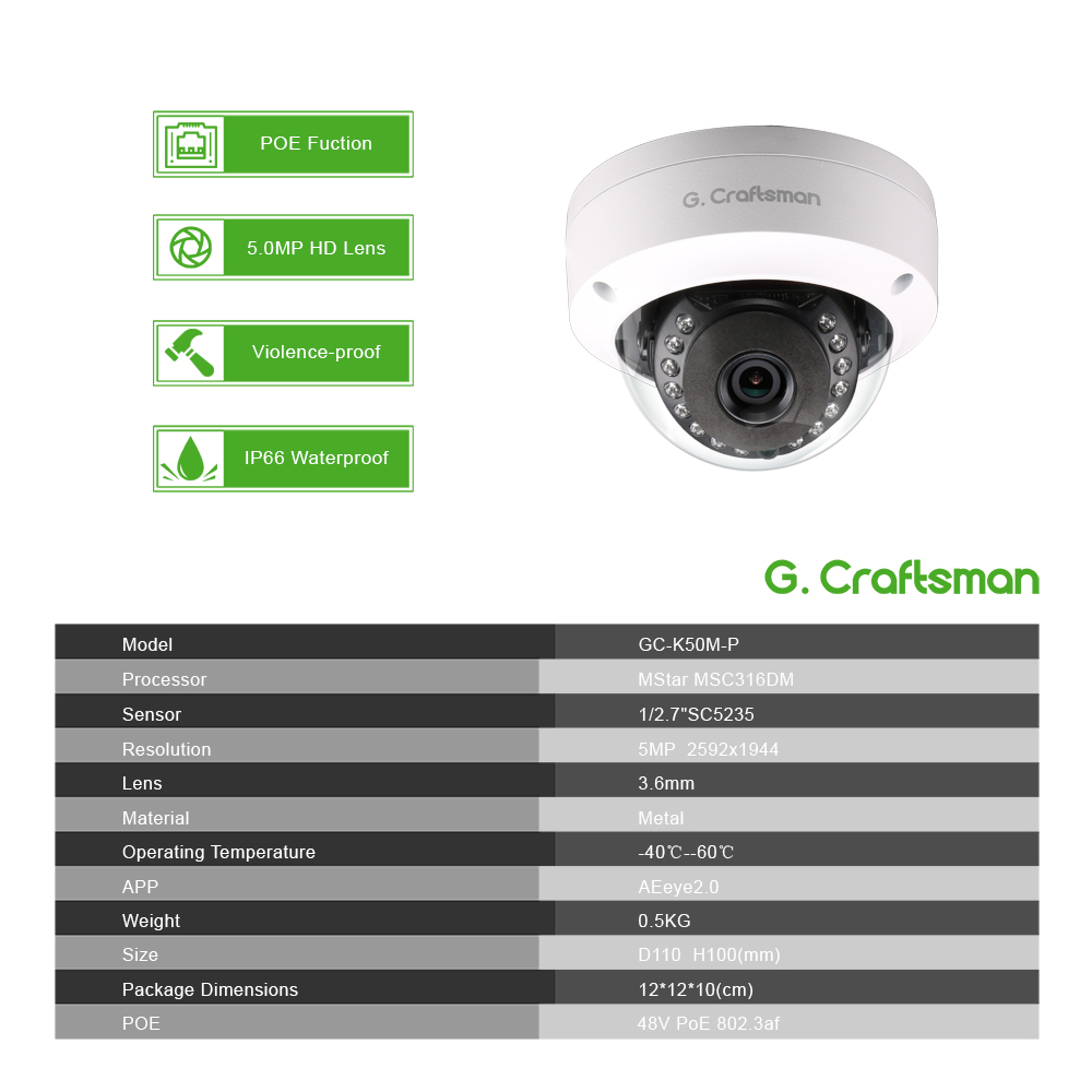 Smart 4ch 5MP POE IP Camera System Kit Dome H.265 Security 8ch POE NVR Indoor Violence-proof CCTV Alarm Video P2P G.Craftsman