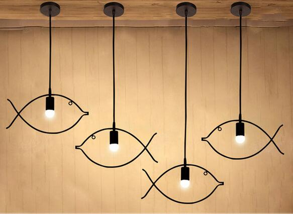 A1 Vintage industrial wind personality iron bar cafe restaurant fish pendant bedroom balcony Fashion Pendant Lights bamboo bedroom pendant lights balcony