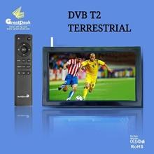 Envío gratis 9 pulgadas Portátil Recargable DVB-T2 TV LCD de Oro Proveedor de China