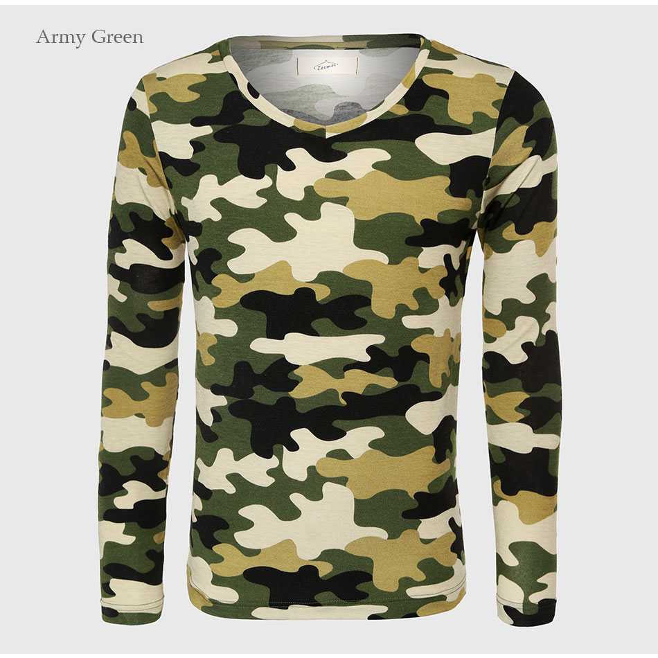 07592ec2e Military Army Long Sleeve Camouflage T Shirt Men Fitness Top Tees V ...