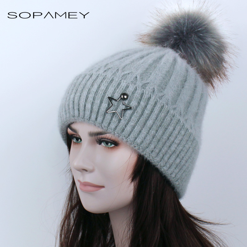 Winter Beanies Hat Woman Knitted Skullies Casual Cap with Faux Raccoon Fox Fur pompom Solid colors Ski gorros Plus cashmere Warm
